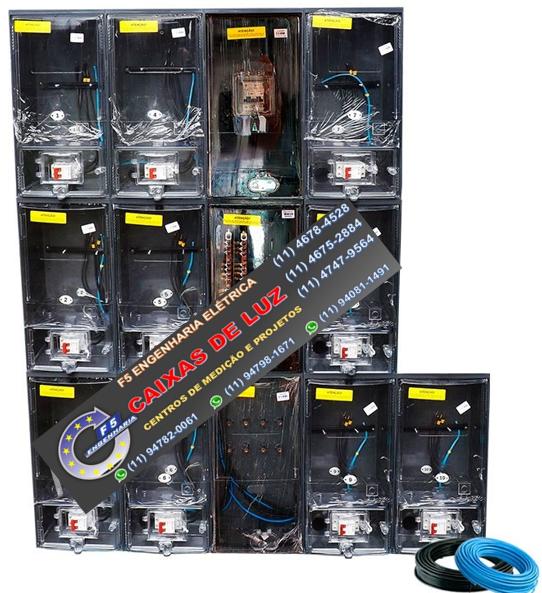 6518ef6e719 Caixa de Luz 10 Relógios CPFL Policarbonato Cabo 50mm Montada - kit  Completo - F5 ENGENHARIA ELÉTRICA