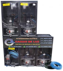 Caixa de Luz 4 Relógios CPFL Policarbonato Cabo 25mm Montada - kit Completo