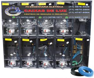 Caixa de Luz 8 Relógios CPFL Policarbonato Cabo 35mm Montada - kit Completo